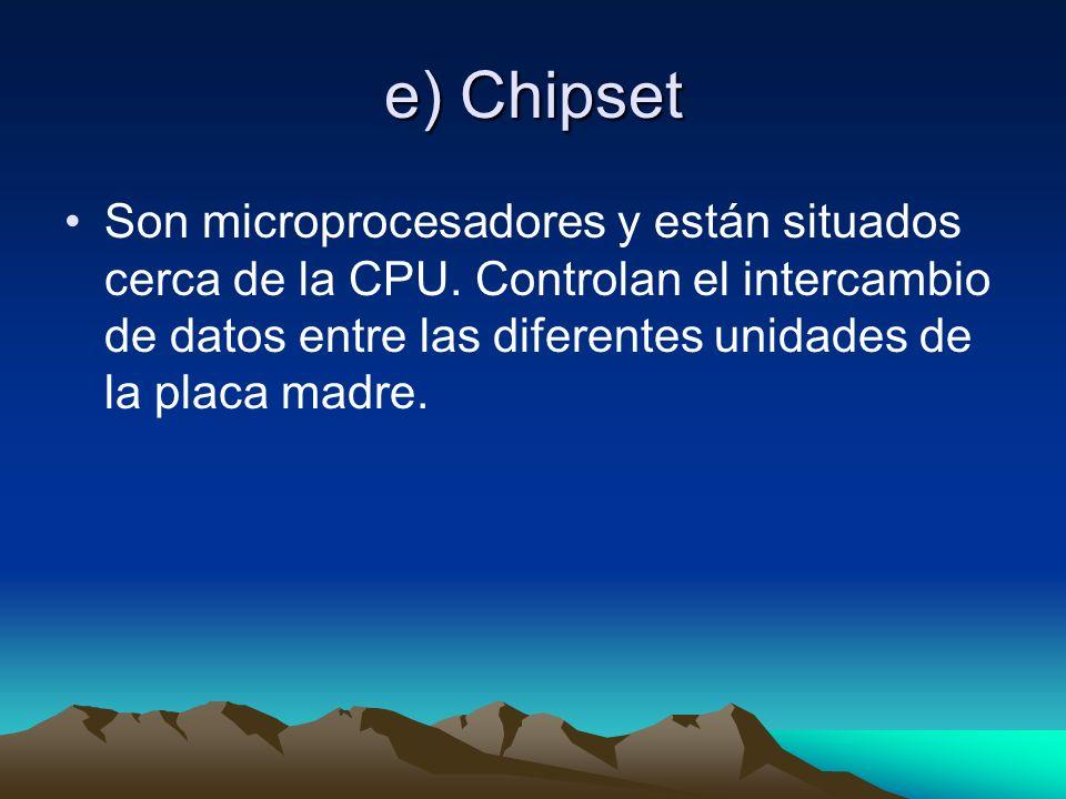 e) Chipset Son microprocesadores y están situados cerca de la CPU.