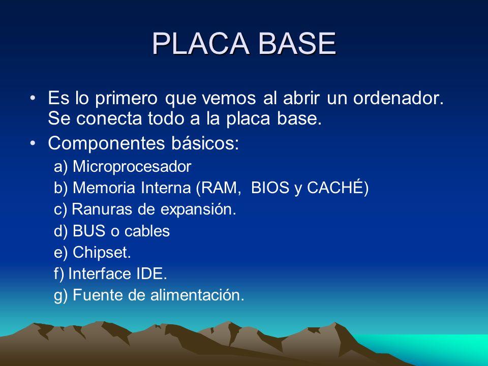 PLACA BASE Es lo primero que vemos al abrir un ordenador. Se conecta todo a la placa base. Componentes básicos: