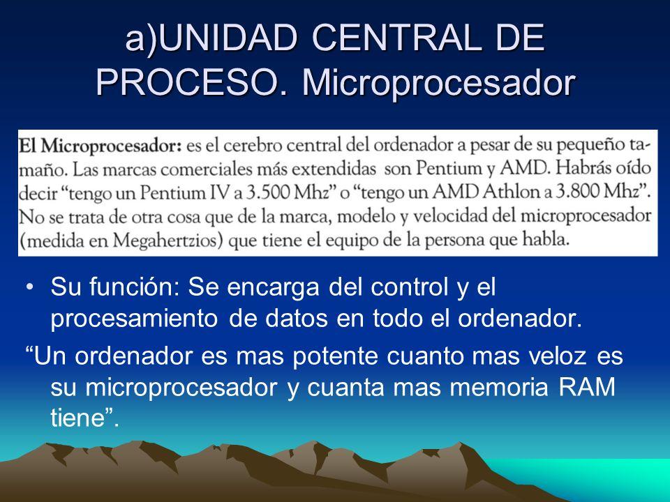 a)UNIDAD CENTRAL DE PROCESO. Microprocesador