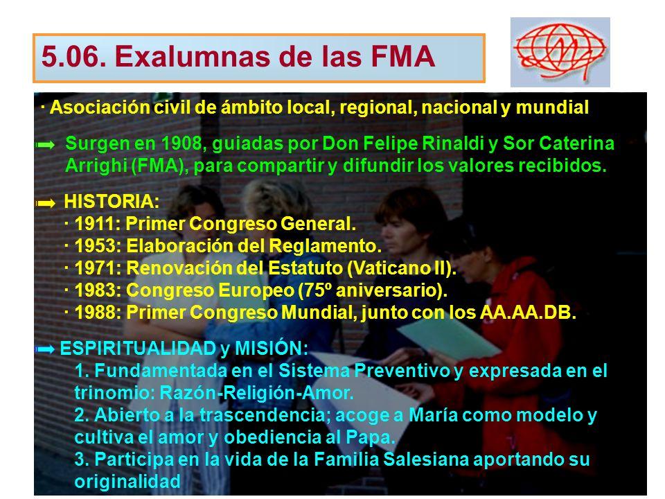 5.06. Exalumnas de las FMA · Asociación civil de ámbito local, regional, nacional y mundial.