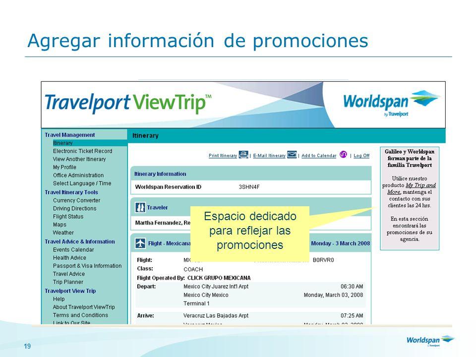 Agregar información de promociones