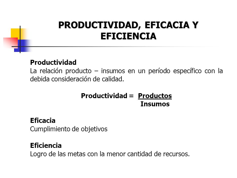 PRODUCTIVIDAD, EFICACIA Y EFICIENCIA Productividad = Productos