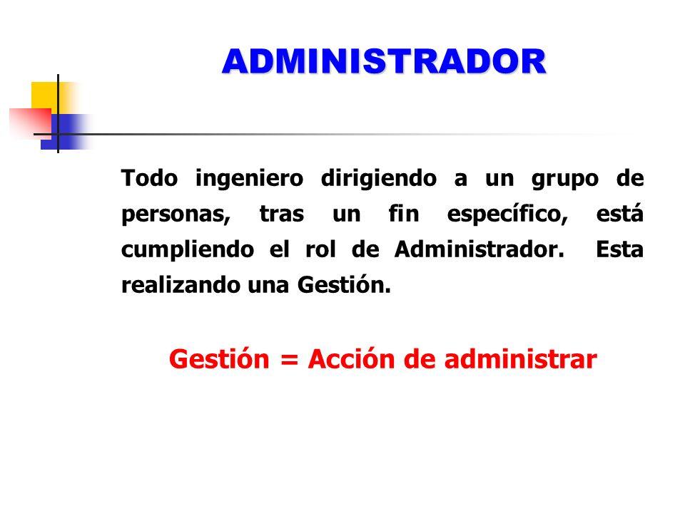 Gestión = Acción de administrar