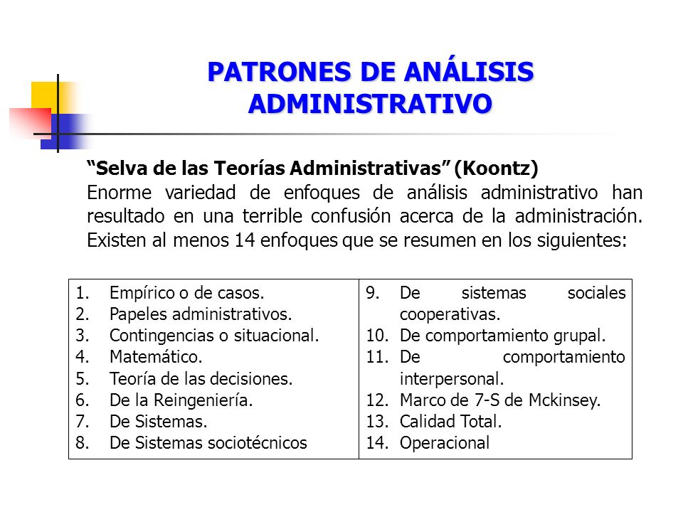 PATRONES DE ANÁLISIS ADMINISTRATIVO
