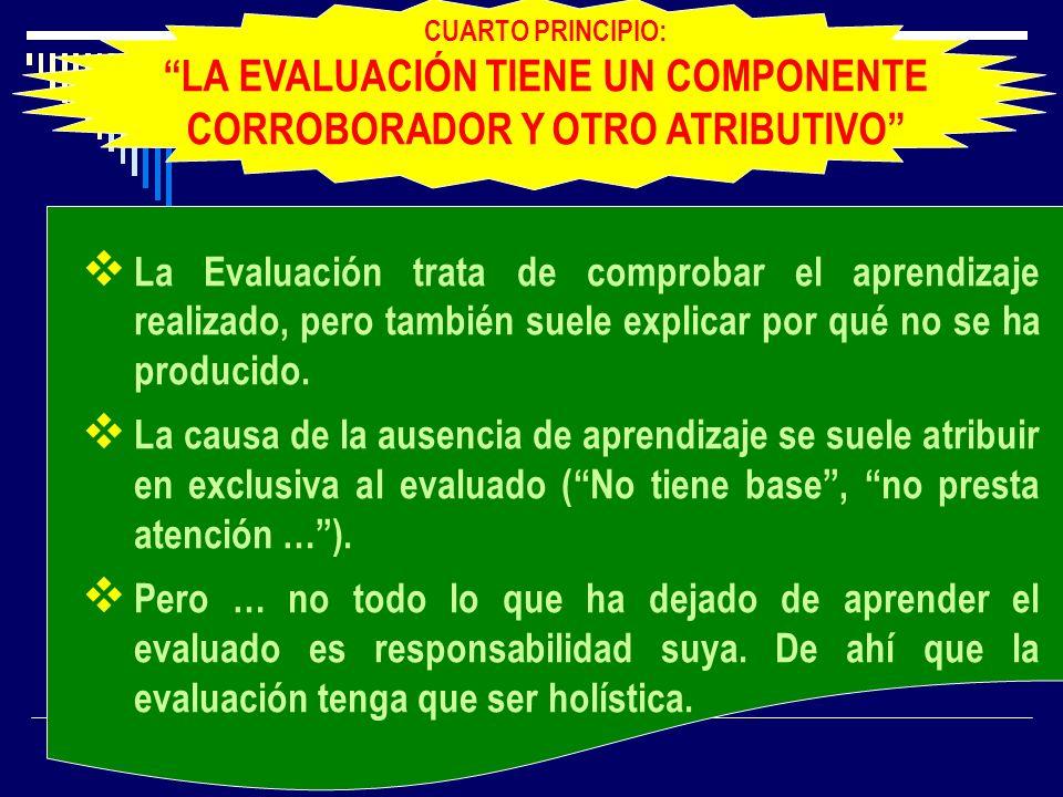 CUARTO PRINCIPIO: LA EVALUACIÓN TIENE UN COMPONENTE CORROBORADOR Y OTRO ATRIBUTIVO