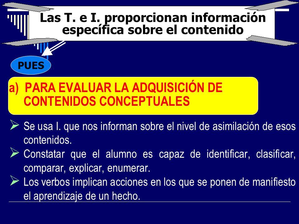 Las T. e I. proporcionan información específica sobre el contenido