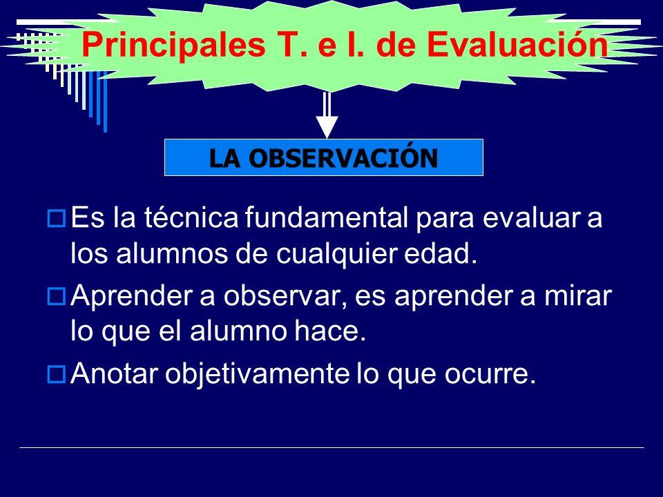 Principales T. e I. de Evaluación