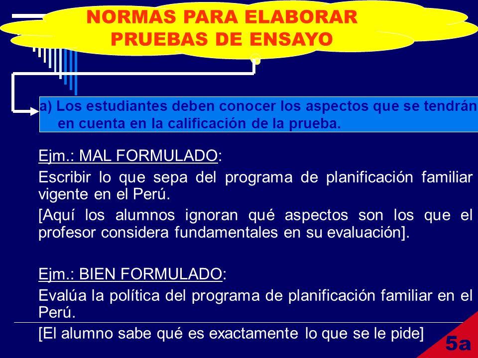 NORMAS PARA ELABORAR PRUEBAS DE ENSAYO