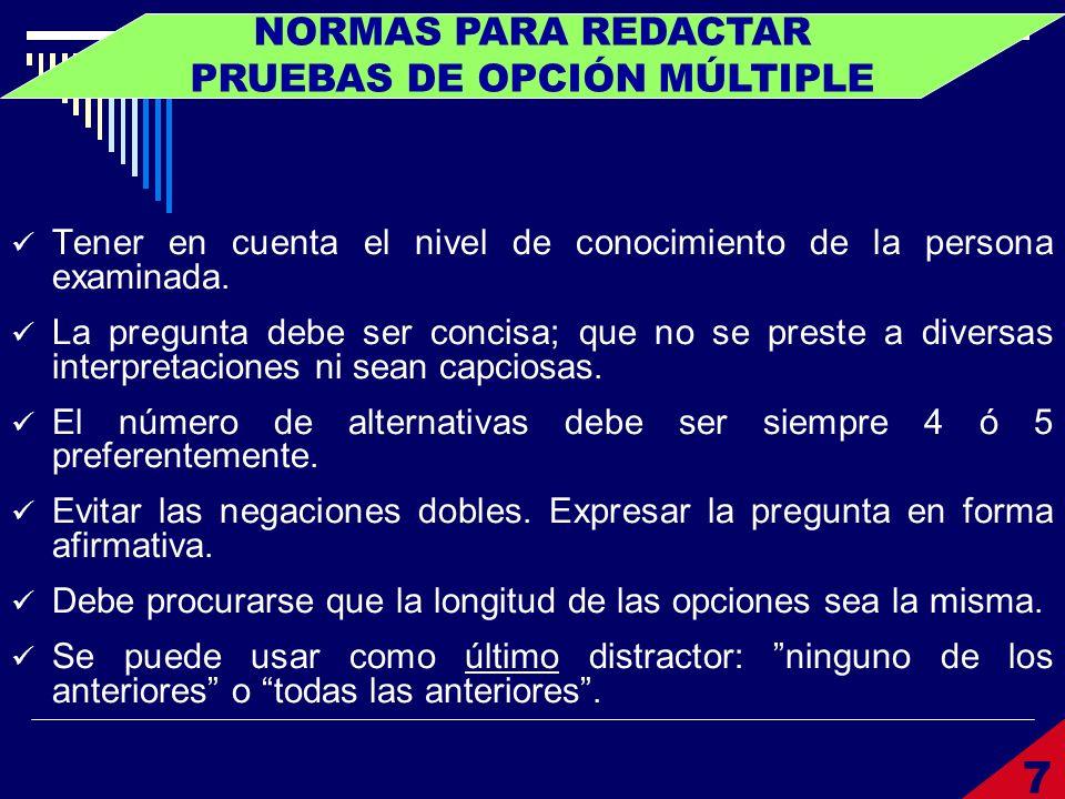NORMAS PARA REDACTAR PRUEBAS DE OPCIÓN MÚLTIPLE