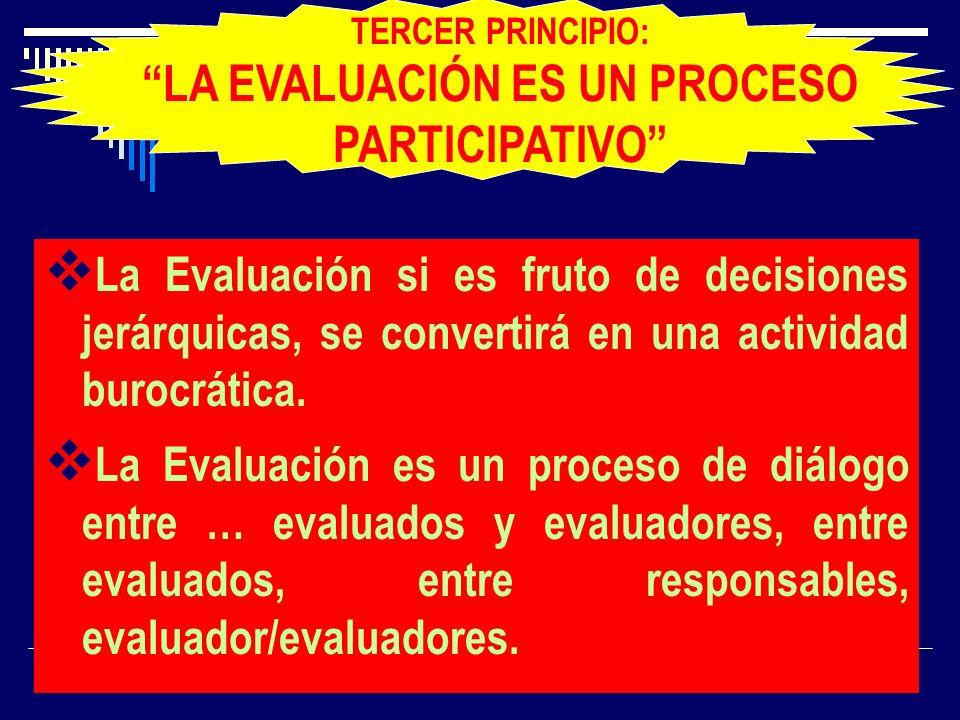 TERCER PRINCIPIO: LA EVALUACIÓN ES UN PROCESO PARTICIPATIVO