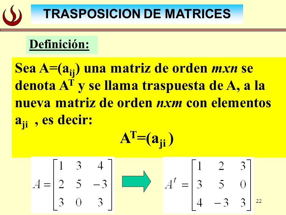 TRASPOSICION DE MATRICES
