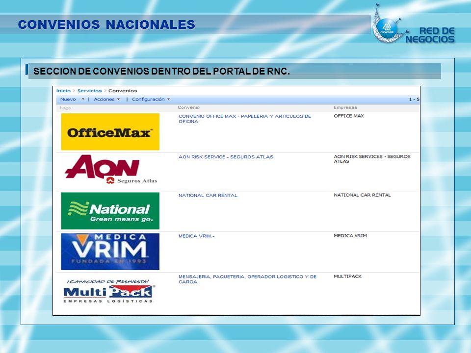 CONVENIOS NACIONALES SECCION DE CONVENIOS DENTRO DEL PORTAL DE RNC.