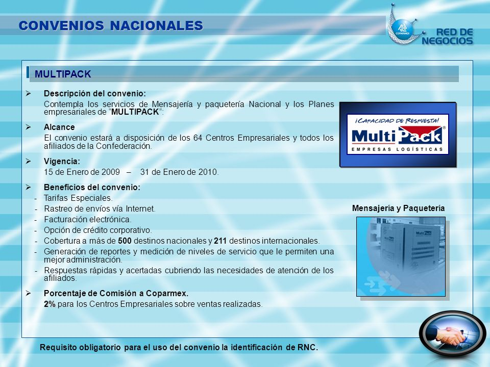CONVENIOS NACIONALES MULTIPACK Descripción del convenio: