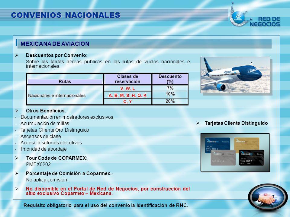 CONVENIOS NACIONALES MEXICANA DE AVIACION Descuentos por Convenio: