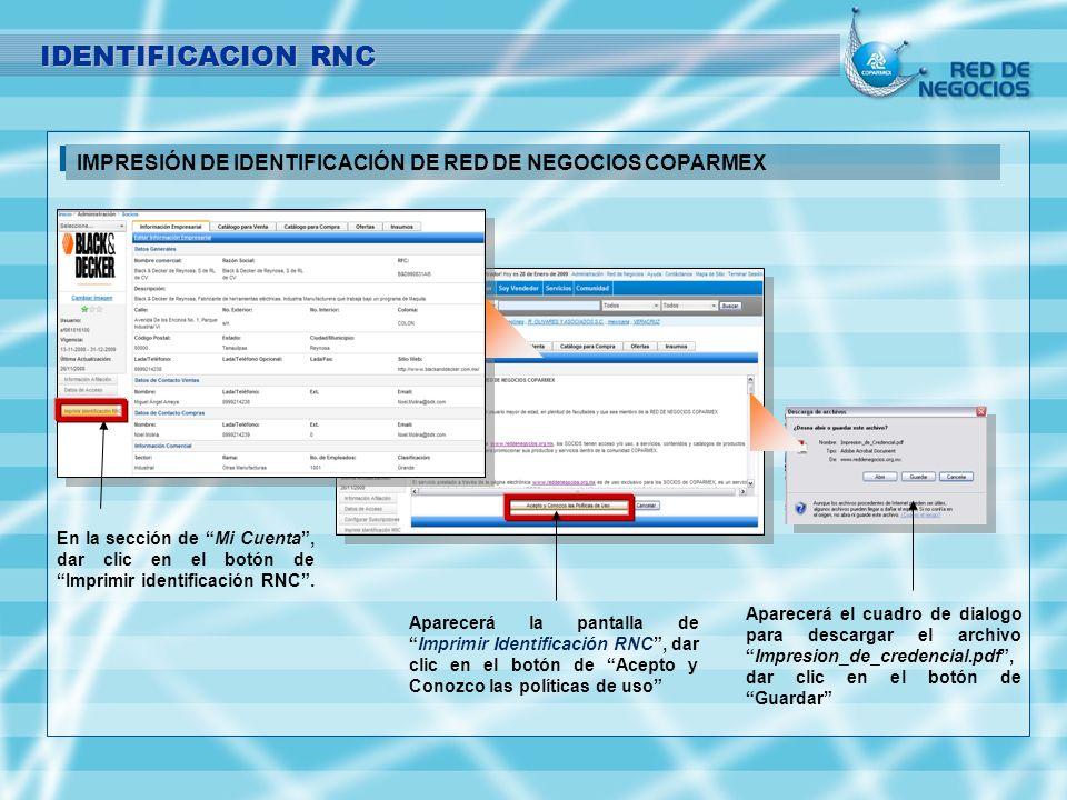 IDENTIFICACION RNC IMPRESIÓN DE IDENTIFICACIÓN DE RED DE NEGOCIOS COPARMEX.