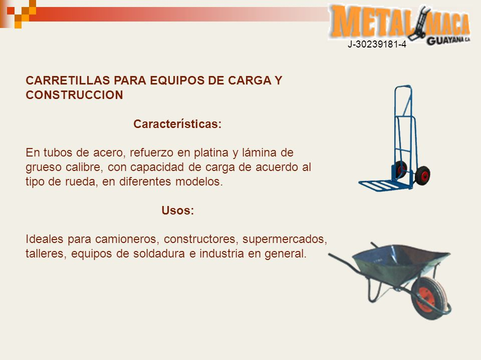 CARRETILLAS PARA EQUIPOS DE CARGA Y CONSTRUCCION