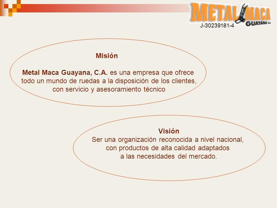 Misión Metal Maca Guayana, C.A. es una empresa que ofrece