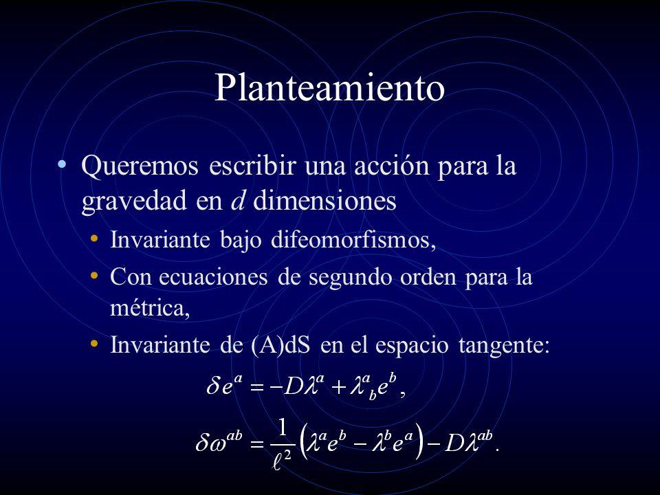 Planteamiento Queremos escribir una acción para la gravedad en d dimensiones. Invariante bajo difeomorfismos,