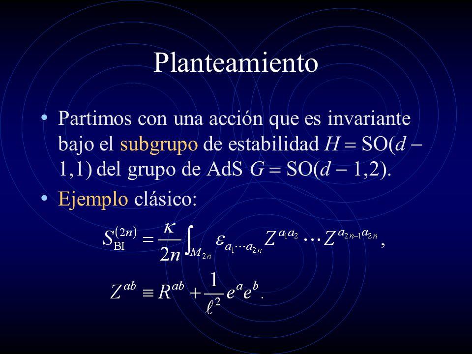 Planteamiento Partimos con una acción que es invariante bajo el subgrupo de estabilidad H = SO(d - 1,1) del grupo de AdS G = SO(d - 1,2).