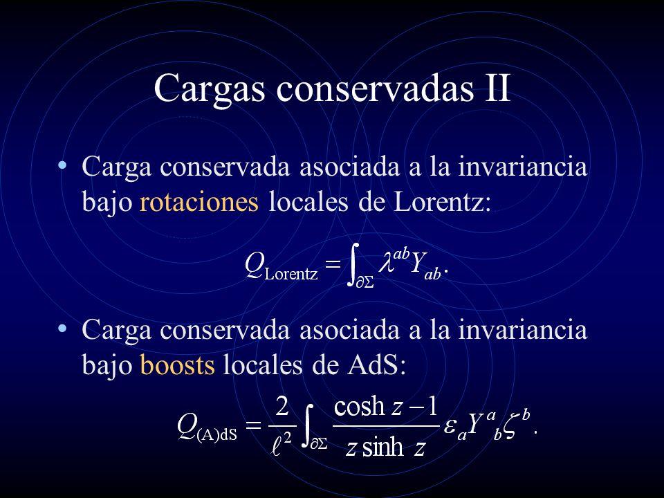 Cargas conservadas II Carga conservada asociada a la invariancia bajo rotaciones locales de Lorentz: