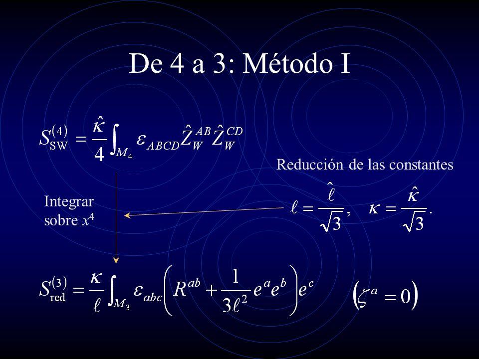 De 4 a 3: Método I Reducción de las constantes Integrar sobre x4