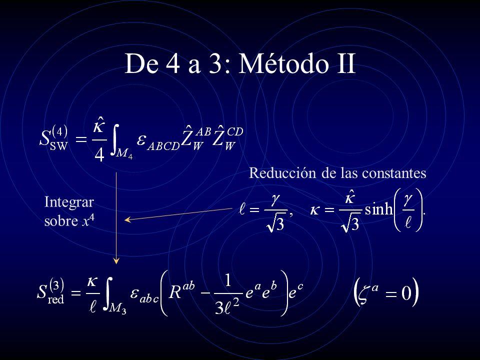De 4 a 3: Método II Reducción de las constantes Integrar sobre x4