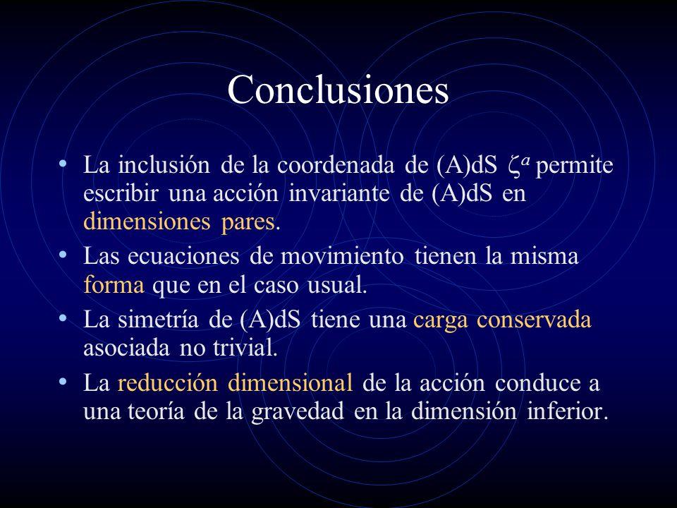 Conclusiones La inclusión de la coordenada de (A)dS za permite escribir una acción invariante de (A)dS en dimensiones pares.