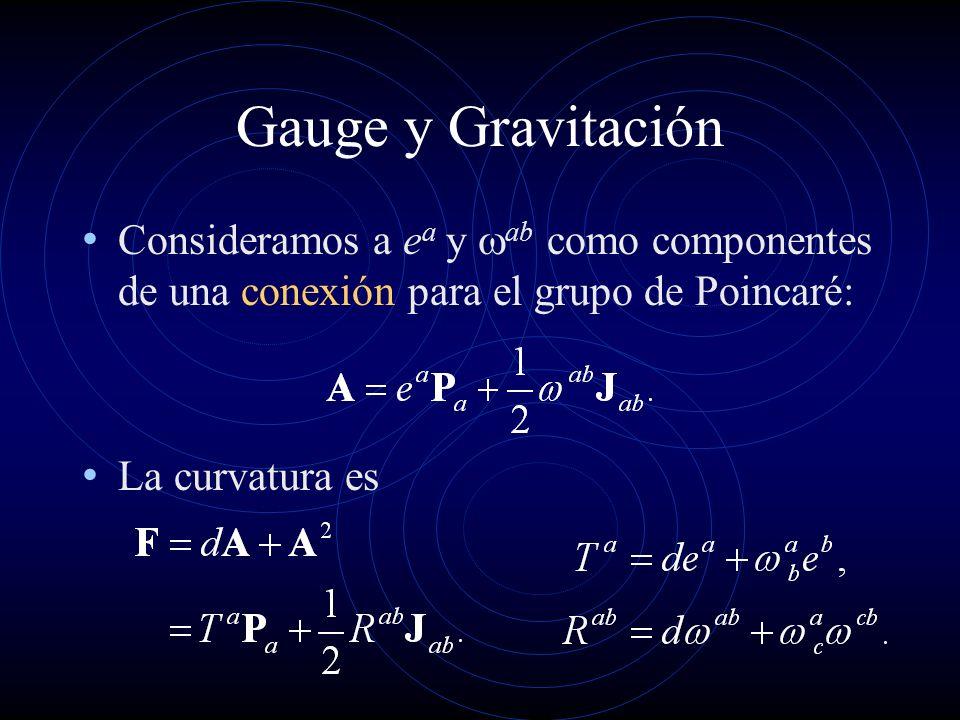 Gauge y Gravitación Consideramos a ea y wab como componentes de una conexión para el grupo de Poincaré: