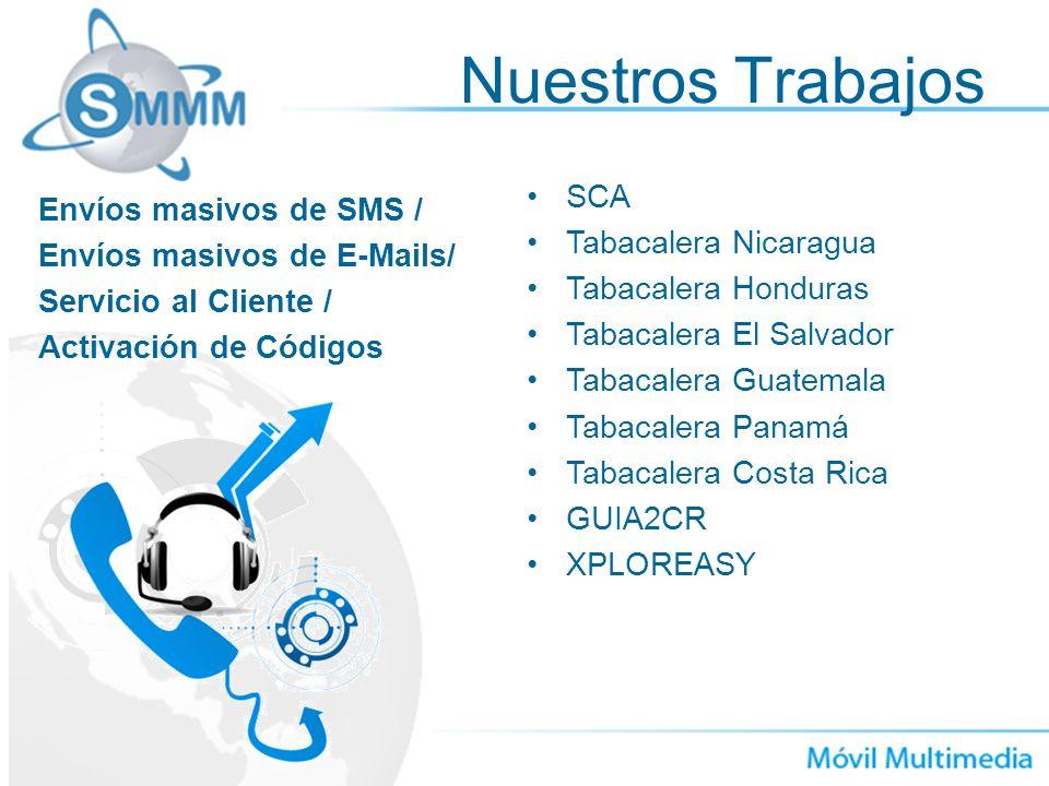 Nuestros Trabajos SCA Envíos masivos de SMS / Tabacalera Nicaragua