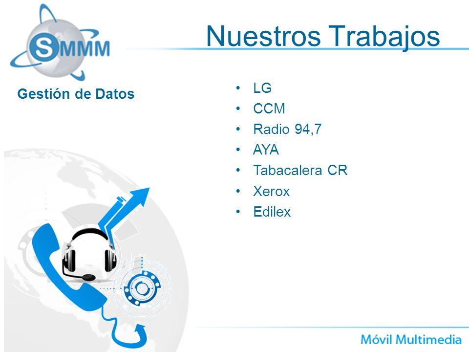 Nuestros Trabajos LG Gestión de Datos CCM Radio 94,7 AYA Tabacalera CR