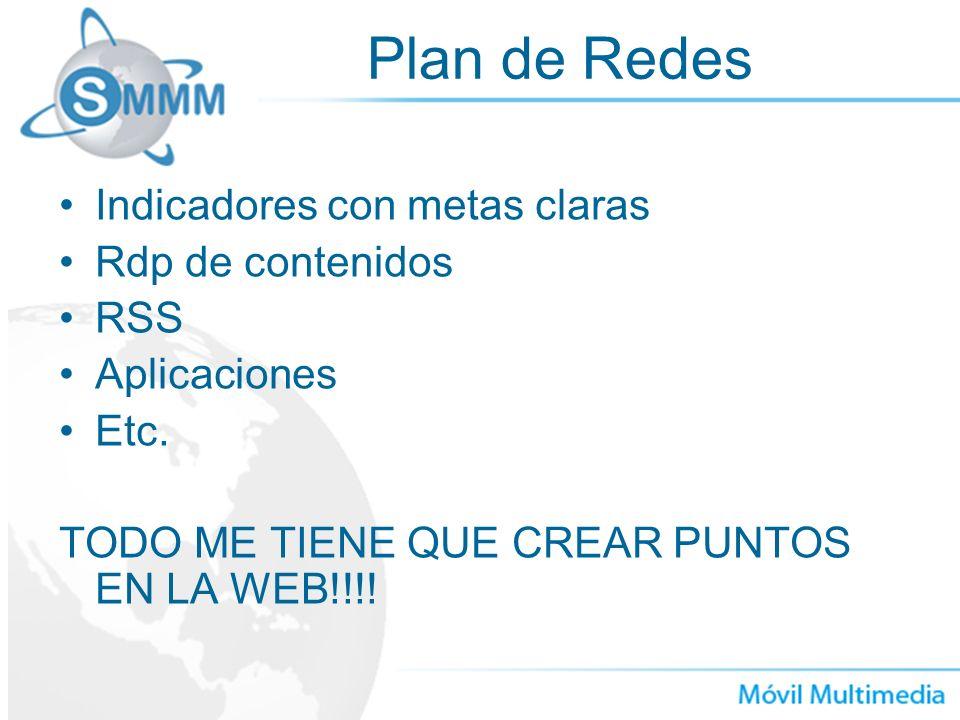 Plan de Redes Indicadores con metas claras Rdp de contenidos RSS