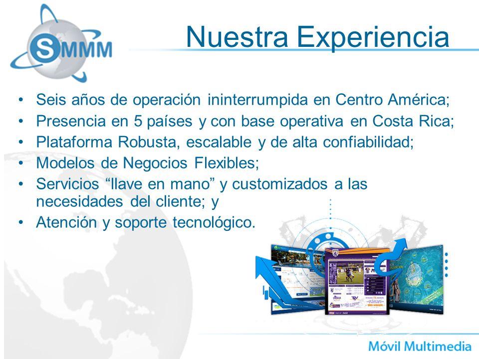 Nuestra Experiencia Seis años de operación ininterrumpida en Centro América; Presencia en 5 países y con base operativa en Costa Rica;