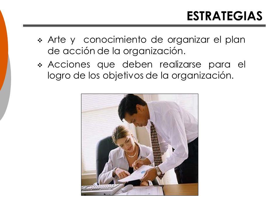 ESTRATEGIAS Arte y conocimiento de organizar el plan de acción de la organización.