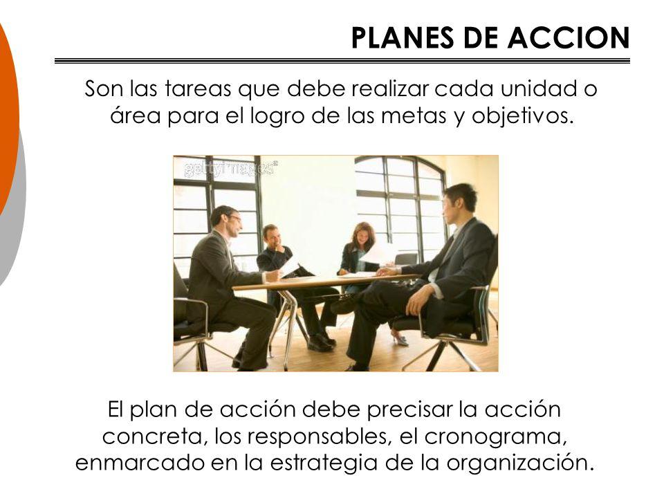 PLANES DE ACCION Son las tareas que debe realizar cada unidad o área para el logro de las metas y objetivos.