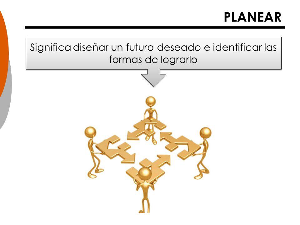 PLANEAR Significa diseñar un futuro deseado e identificar las formas de lograrlo