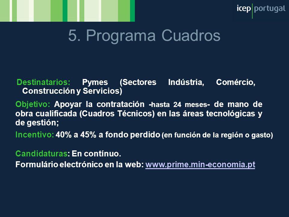 5. Programa Cuadros Destinatarios: Pymes (Sectores Indústria, Comércio, Construcción y Servicios)