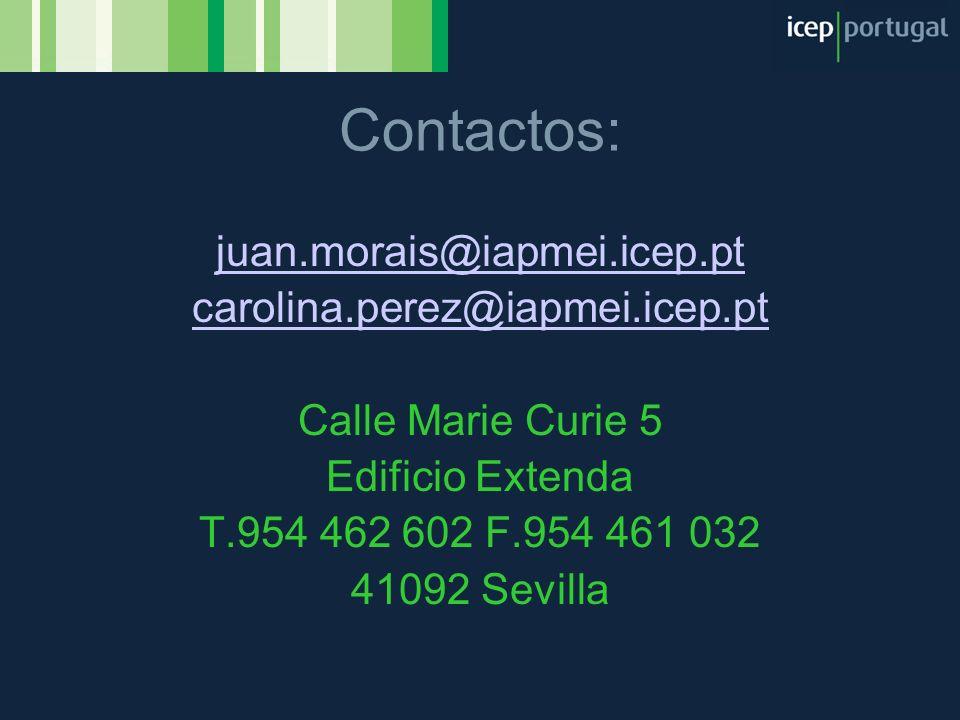 Contactos: juan.morais@iapmei.icep.pt carolina.perez@iapmei.icep.pt