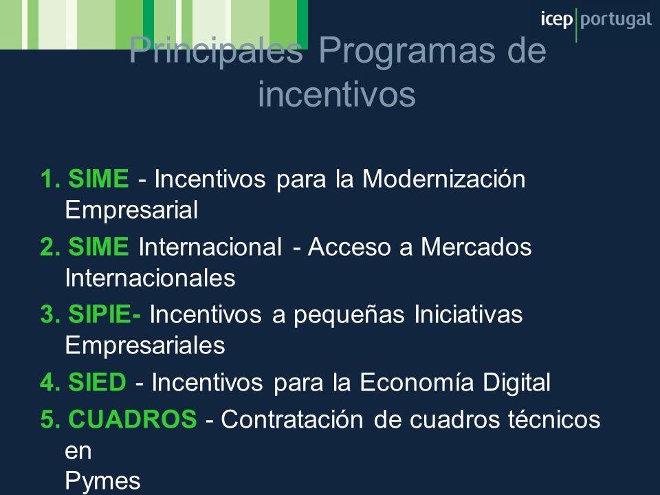 Principales Programas de incentivos
