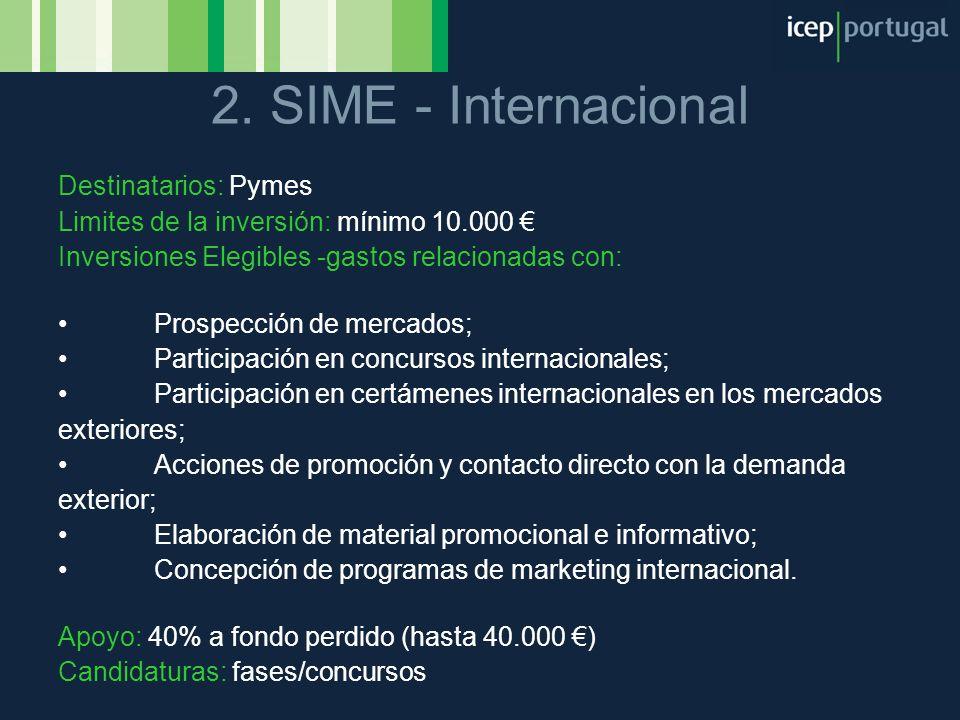 2. SIME - Internacional Destinatarios: Pymes