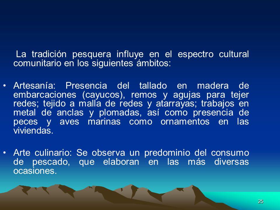 La tradición pesquera influye en el espectro cultural comunitario en los siguientes ámbitos: