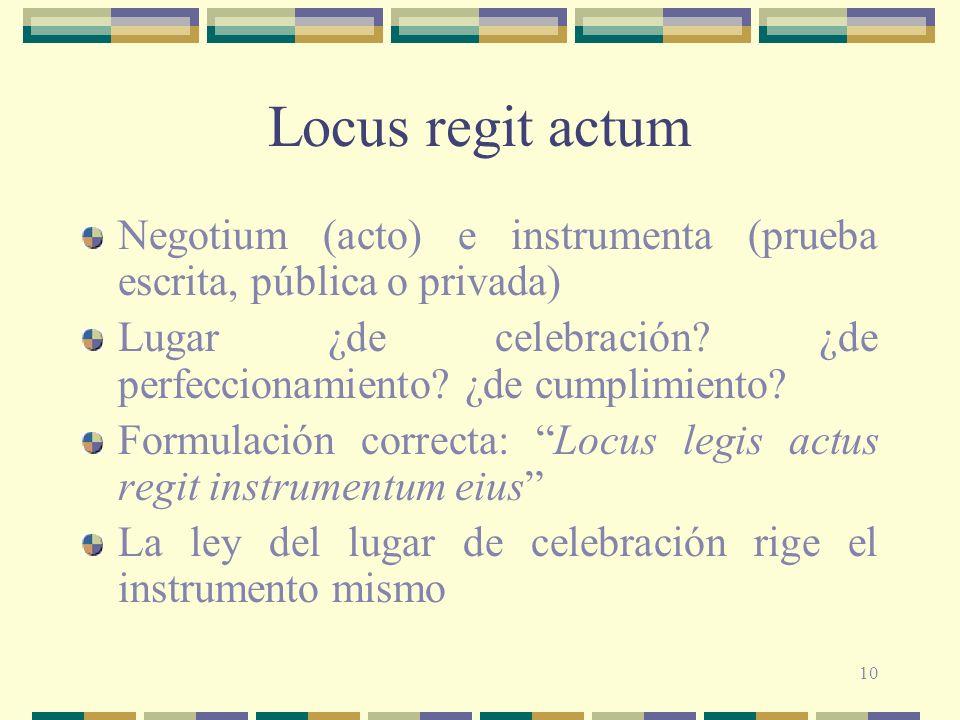 Locus regit actum Negotium (acto) e instrumenta (prueba escrita, pública o privada) Lugar ¿de celebración ¿de perfeccionamiento ¿de cumplimiento