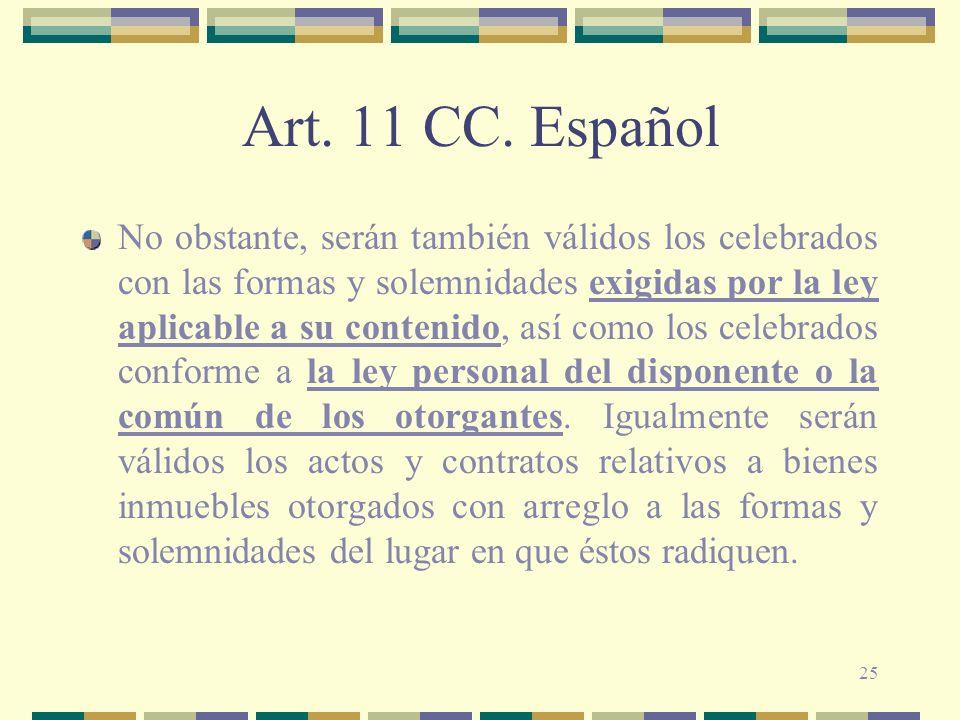 Art. 11 CC. Español
