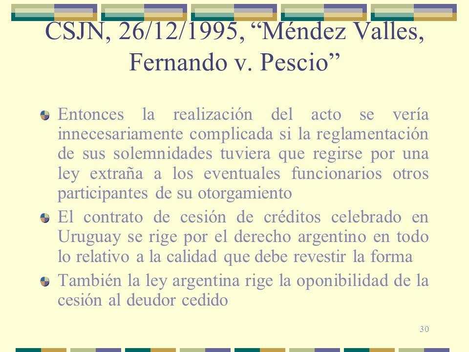 CSJN, 26/12/1995, Méndez Valles, Fernando v. Pescio