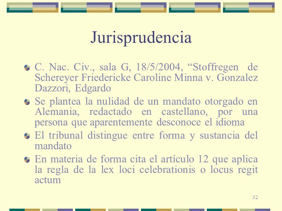 Jurisprudencia C. Nac. Civ., sala G, 18/5/2004, Stoffregen de Schereyer Friedericke Caroline Minna v. Gonzalez Dazzori, Edgardo.