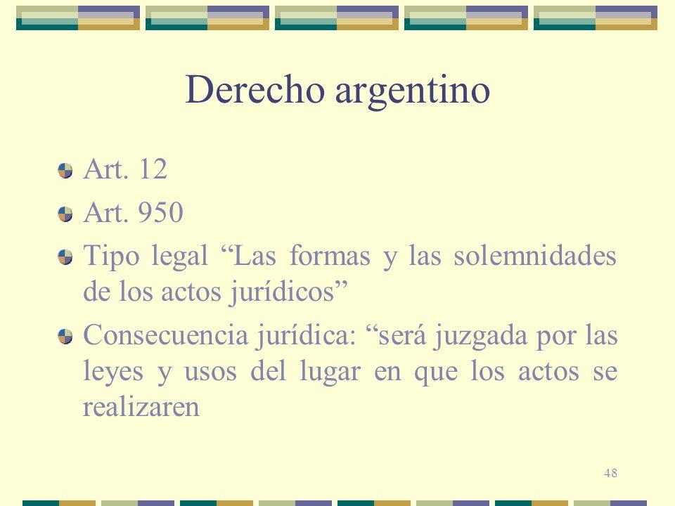 Derecho argentino Art. 12 Art. 950