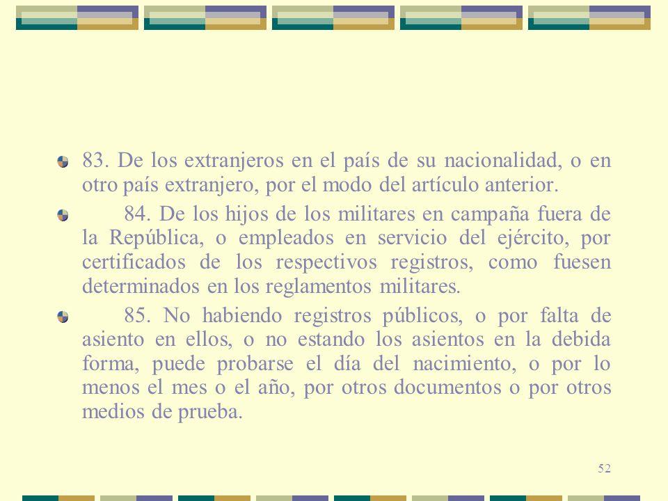 83. De los extranjeros en el país de su nacionalidad, o en otro país extranjero, por el modo del artículo anterior.