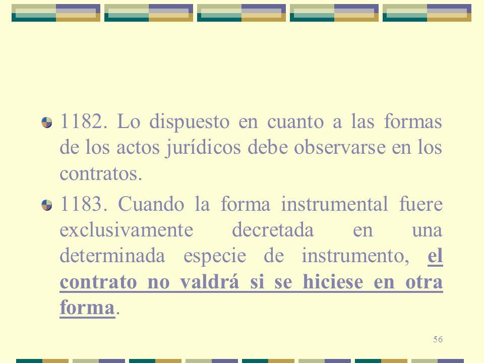 1182. Lo dispuesto en cuanto a las formas de los actos jurídicos debe observarse en los contratos.