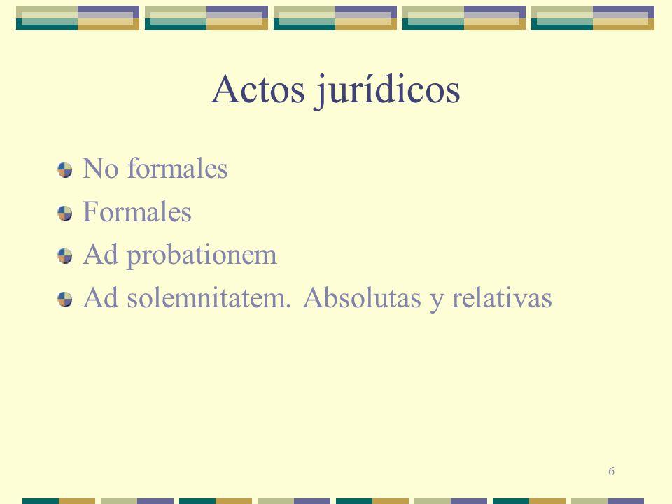 Actos jurídicos No formales Formales Ad probationem