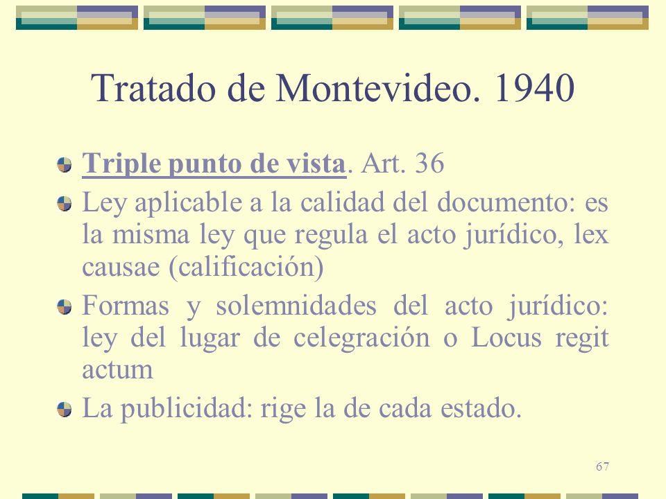 Tratado de Montevideo. 1940 Triple punto de vista. Art. 36