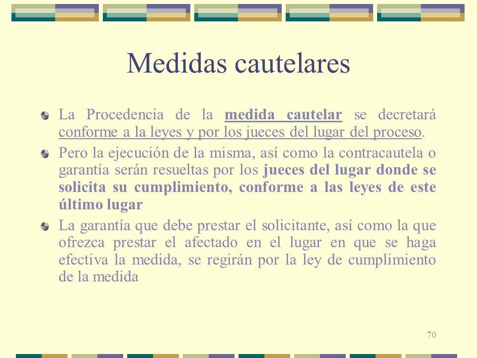 Medidas cautelares La Procedencia de la medida cautelar se decretará conforme a la leyes y por los jueces del lugar del proceso.